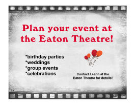 plan your event with the eaton theatre